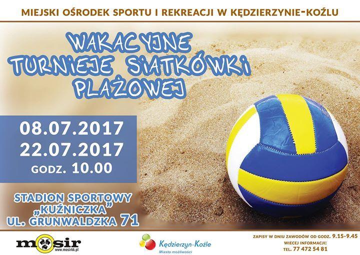 Plakat: Wakacyjny turniej siatkówki plażowej
